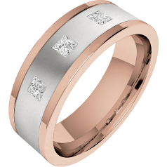 Diamond Ring/Diamond set Wedding Ring for Men in 18ct white and rose gold with 3 princess cut diamonds, flat toppped/courted inside, width 6.25mm