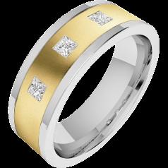 RDWG070YW - Verighetă bărbaţi aur galben şi aur alb 18kt, lăţime 6.25mm, exterior plat/ interior rotunjit, cu 3 diamante princess