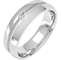 Diamond Ring/Diamond set Wedding Ring for Men in palladium with a round brilliant cut diamond in a central groove, court profile, width 6mm