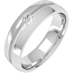 Diamond Ring/Diamond set Wedding Ring for Men in 18ct white gold with a round brilliant cut diamond in a central groove, court profile, width 6mm