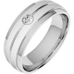 Diamond Ring/Diamond set Wedding Ring for Men in 18ct white gold with a single round brilliant cut diamond, court profile, sandblasted and polished, width 6mm