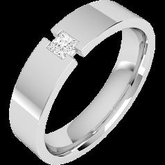 RDWG077W - 18kt Weissgold Herren 6.0mm flache Oberseite/ bombierte Innerseite Ehering mit einem Princess Schliff Diamanten