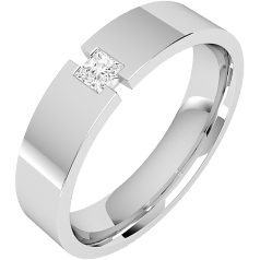 RDWG077W - Verighetă bărbaţi aur alb 18kt, lăţime 6mm, exterior plat/ interior rotunjit, cu un diamant princess