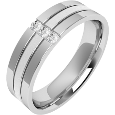 Diamond set Wedding Ring for Men in palladium with 3 round brilliant cut diamonds, flat top/courted inside, width 6mm