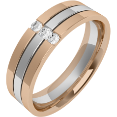 Diamond Ring/Diamond set Wedding Ring for Men in 18ct white & rose gold with 3 round brilliant cut diamonds, flat top/courted inside, width 6mm