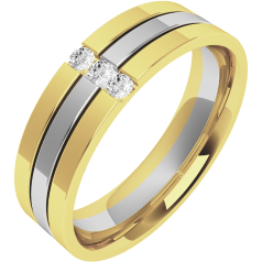 Diamond Ring/Diamond set Wedding Ring for Men in 18ct white & yellow gold with 3 round brilliant cut diamonds, flat top/courted inside, width 6mm