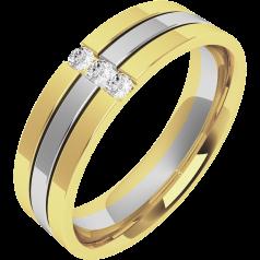 Verigheta cu Diamant Barbat Aur Alb si Aur Galben 18kt cu 3 Diamante Rotund Briliant Exterior Plat Interior Rotunjit Latime 6mm