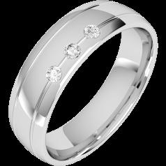 Verigheta cu Diamant Barbat Platina cu 3 Diamante Rotund Briliant Profil Bombat Latime 6mm
