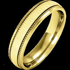RDWG082/9Y - 9kt Gelbgold Herren Schwergewicht Milgrain Ehering, in polierten/gebürsteten Finish