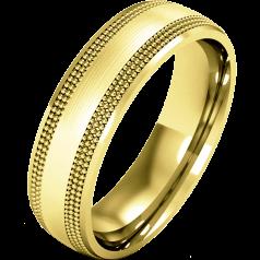 RDWG083/9Y - 9kt Gelbgold Herren Schwergewicht Milgrain Ehering, mit polierten/ gebürsteten Finish.
