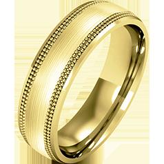RDWG083Y - 18kt Gelbgold Herren Schwergewicht Milgrain Ehering, in einem polierten/ gebürsteten Finish