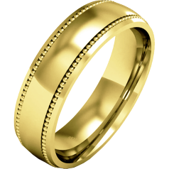 Plain Wedding Band for Men in 9ct Yellow Gold, mill-grained, heavy weight