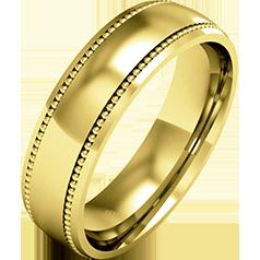 RDWG085Y - 18kt Gelbgold Herren Schwergewicht Milgrain Ehering, in polierten/gebürsteten Finish