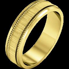 Einfacher Ehering für Mann in 9kt Gelbgold im Milgrain Stil mit poliertem/gebürsteten Finish