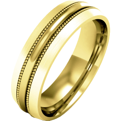 Plain Wedding Band for Men in 9ct Yellow Gold, Heavy Weight, Mill-Grained with a Polished/Brushed Finish