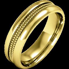 RDWG088/9Y - 9kt Gelbgold Herren Schwergewicht Milgrain Ehering, in polierten/gebürsteten Finish