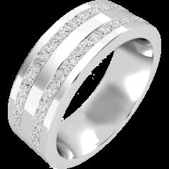 RDWG089W - Verighetă bărbaţi aur alb 18kt, 7mm, exterior plat/ interior rotunjit, cu 2 rânduri de diamante princess în setare canal având 0.68ct.