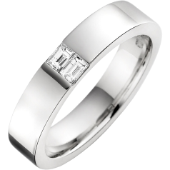 Diamond Set Wedding Ring for Men in Palladium with Two Baguette Cut Diamonds in a Channel Setting, Width 4.5mm