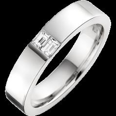 RDWG090W - 18kt Weissgold Herren 4.5mm Ehering mit 2 Baguette Schliff Diamanten in Kanalfassung