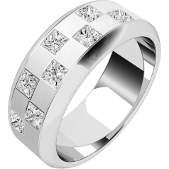 Diamond set Wedding Ring for Men in 18ct white gold with 8 princess cut diamonds in a chequerboard style setting, width 7.25mm