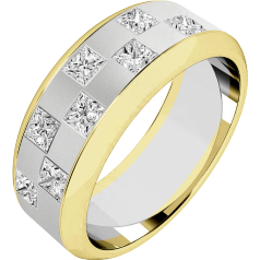Diamond Ring/Diamond set Wedding Ring for Men in 18ct white and yellow gold with 8 princess cut diamonds in a chequerboard style setting, width 7.25mm
