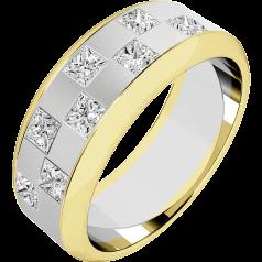 RDWG091WY-Verighetă bărbaţi aur alb şi aur galben 18kt, lăţime 7.25mm, cu 8 diamante princess aranjate în stil 'tablă de şah'