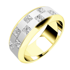 Diamond Ring/Diamond set Wedding Ring for Men in 18ct yellow and white gold with 8 princess cut diamonds in a chequerboard style setting, width 7.25mm