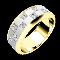 RDWG091YW- Verighetă bărbaţi aur galben şi aur alb 18kt, lăţime 7.25mm, cu 8 diamante princess aranjate în stil 'tablă de şah'