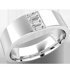 RDWG092W-Verigheta/Inel cu Diamant Barbat Aur Alb 18kt cu 3 Diamante forma Bagheta, Top Plat, Interior Confortabil, Latime 6.25mm