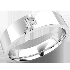 RDWG093W-Verigheta/Inel cu Diamant Barbat Aur Alb 18kt cu un Diamant Princess, 6mm, Exterior Top Plat, Interior Rotunjit,Design Modern