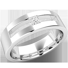 RDWG094W-Verigheta/Inel cu Diamant Barbat Aur Alb 18kt cu Diamant Princess in Setare Canal, Latime 6mm,un Design Top Plat,Interior Rotunjit