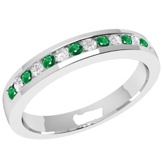 Emerald and Diamond Eternity Ring for Women in 9ct white gold with 8 round emeralds and 7 round brilliant cut diamonds in a channel setting, width 2.9mm