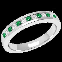 Inel cu Smarald si Diamant Dama Aur Alb 18kt cu 8 Smaralde Rotunde si 7 Diamante Rotund Briliant in Setare Canal, Stil Eternity, Latime 2.9mm