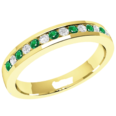 Emerald and Diamond Eternity Ring for Women in 18ct yellow gold with 8 round emeralds and 7 round brilliant cut diamonds in a channel setting, width 2.9mm