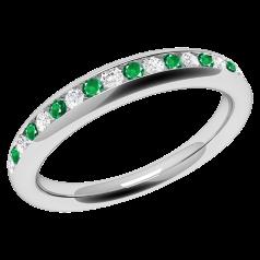 Inel cu Smarald Si Diamant Dama Aur Alb 18kt cu Smaralde Rotunde si Diamante Rotund Briliant in Setare Canal