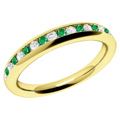 Emerald and Diamond Eternity Ring for Women in 18ct yellow gold with round emeralds and brilliant cut diamonds in a channel setting