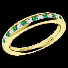 Inel cu Smarald si Diamant Dama Aur Galben 18kt cu Smaralde Rotunde si Diamante Rotund Briliant in Setare Canal