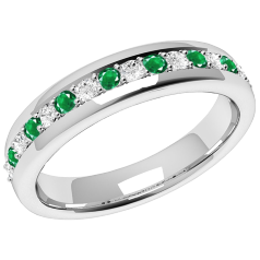 Emerald and Diamond Eternity Ring for Women in 9ct white gold with 9 round emeralds and 8 round brilliant cut diamonds in a claw setting, width 3.65mm