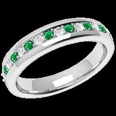 Inel cu Smarald Si Diamant Dama Aur Alb 18kt cu 9 Smaralde Rotunde si 8 Diamante Rotund Briliant in Setare Gheare