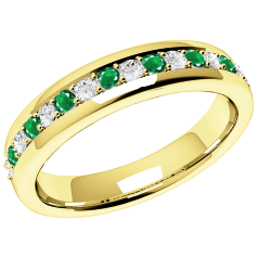 Emerald and Diamond Eternity Ring for Women in 18ct yellow gold with 9 round emeralds and 8 round brilliant cut diamonds in a claw setting, width 3.65mm