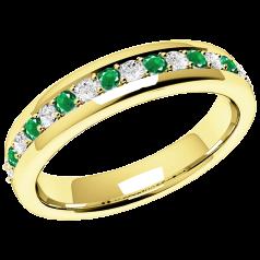 Inel cu Smarald si Diamant Dama Aur Galben 18kt cu 9 Smaralde Rotunde si 8 Diamante Rotund Briliant in Setare Gheare, Stil Eternity
