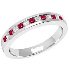 Ruby and Diamond Eternity Ring for Women in 9ct white gold with 8 round rubies and 7 round brilliant cut diamonds in a channel setting, width 2.9mm
