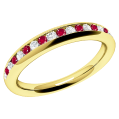 Inel cu Rubin si Diamant Dama Aur Galben 18kt cu Rubine Rotunde si Diamante Rotund Briliant in Setare Canal, Stil Eternity