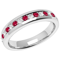 Inel cu Rubin si Diamant Dama Aur Alb 18kt cu 9Safire Rotunde si 8Diamante Rotund Briliant in Setare Gheare