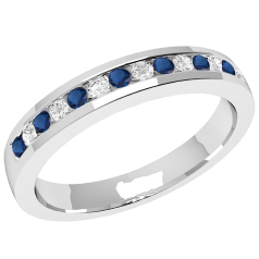 Sapphire and Diamond Eternity Ring for Women in 9ct white gold with 8 round sapphires and 7 round brilliant cut diamonds in a channel setting, width 2.9mm