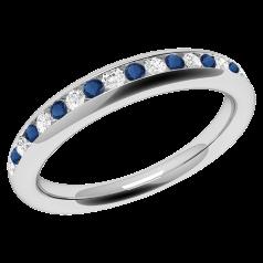 Inel cu Safir si Diamant Dama Aur Alb 18kt cu Safire si Diamante Rotunde in Setare Canal Stil Eternity