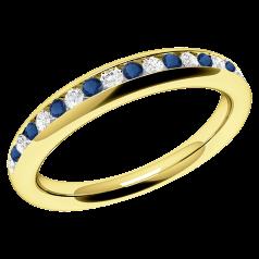 Saphir und Diamant Ring für Dame in 18kt Gelbgold mit Saphiren und Brillant Schliff Diamanten in Kanalfassung