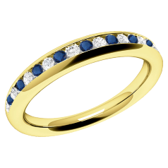 Inel cu Safir si Diamant Dama Aur Galben 18kt cu Safire Rotunde si Diamante Rotund Briliant in Setare Canal, Stil Eternity