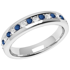 Sapphire and Diamond Eternity Ring for Women in 9ct white gold with 9 round sapphires and 8 round brilliant cut diamonds in a claw setting