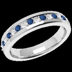 Inel cu Safir si Diamant Dama Aur Alb 18kt cu 9 Safire Rotunde si 8 Diamante Rotund Briliant in Setare Gheare